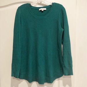 LOFT Teal Heavy Knit Round Hem Sweater